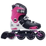 Patín Inline Ajustable Hard New First Rosa Lateral